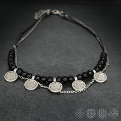 Mayan small Discs Necklace | Silver color