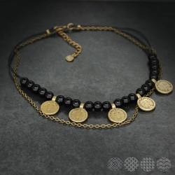 Mayan small Discs Necklace | Bronze color