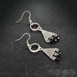 Triangle & beads Earings |Silver color
