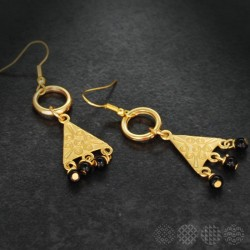 Triangle & beads Earings |Gold color
