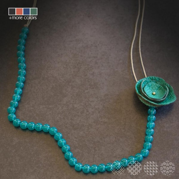 Leather Flower Necklace ΚΟΛΙΕ