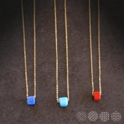 Glass bead Necklace | Gold color